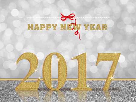 Happy new year 2017 on white bokeh background Stok Fotoğraf - 57720559