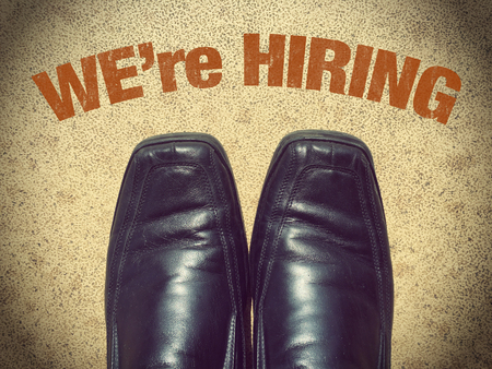 Black men shoes shoes with words We are hiring