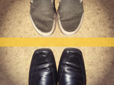 pairs: two pairs shoes top view with copy space