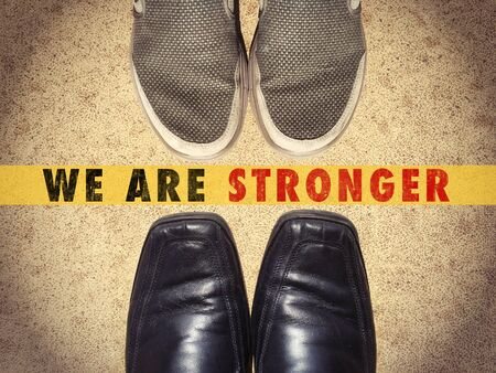 stronger: Men shoes shoes with words We are stronger