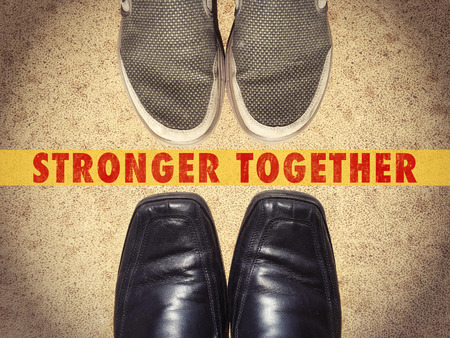 energy work: Men shoes shoes with words Stronger Together