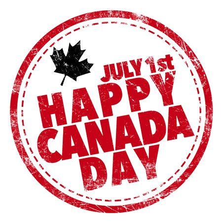 canada stamp: Happy Canada Day Stock Photo