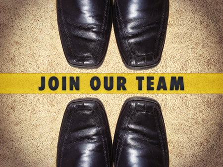 our: Black men shoes with words Join our team