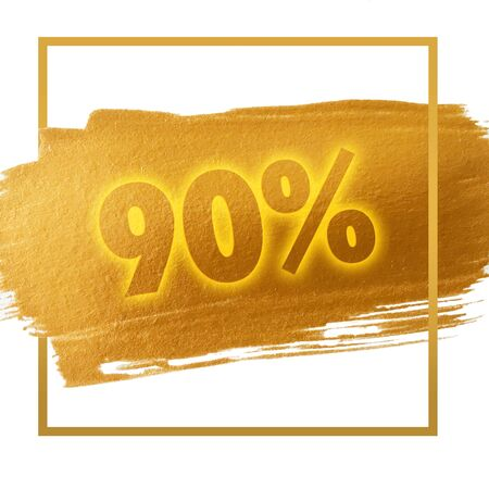 90: 90% OFF sign