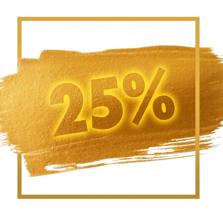 25 cents: 25% OFF sign Stock Photo