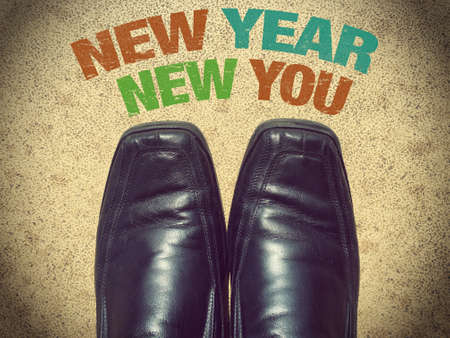 Black men shoes shoes with words New year new you