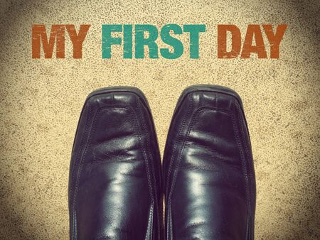 first day: Black men shoes shoes with words My first day