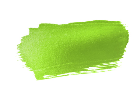 green paint smear stroke stain on white background