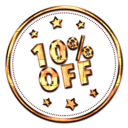 advertised: 10% off gold word on white background Stock Photo