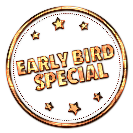 Early bird Special word on white background Stok Fotoğraf