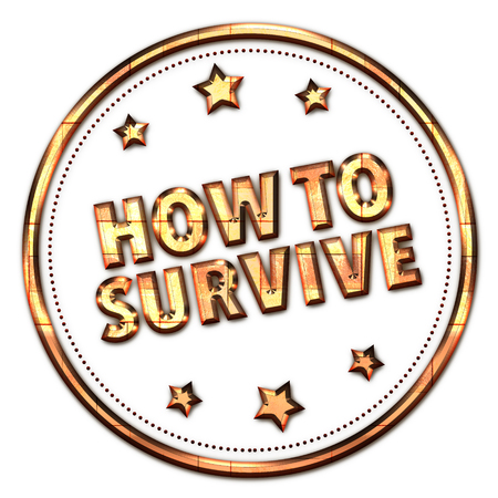 survive: How to survive word on white background Stock Photo