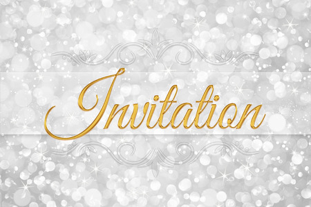 invited: invitation word on white silver glitter bokeh abstract background