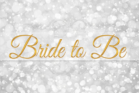 bride to be word on white silver glitter bokeh abstract background Reklamní fotografie
