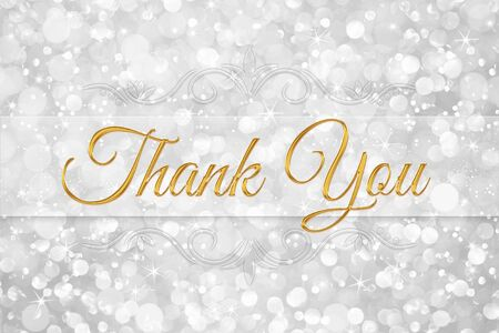 thank you word on white silver glitter bokeh abstract background