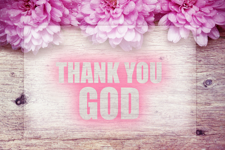 pink flowers on wooden with word THANK YOU GOD Stock fotó