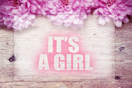 pink flowers on wooden with word Its a girl
