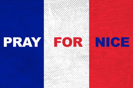 stronger: France national flag with word Pray for Nice Stock Photo