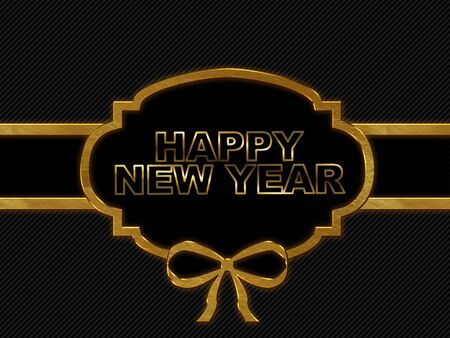 60476487 blank tag gold border on stripe background with word happy new year