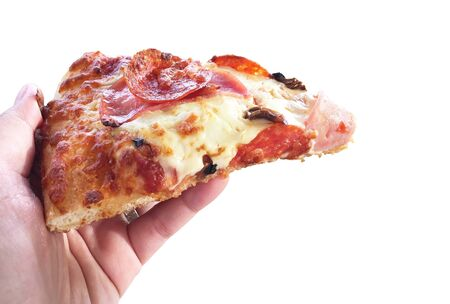 Woman hand holding slice pizza isolated on white background