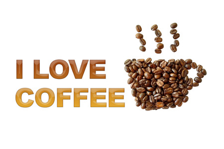 brew house: word I love coffee with coffee beans, coffee cup shape on white background