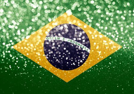 brazil flag on glitter bokeh texture background Reklamní fotografie