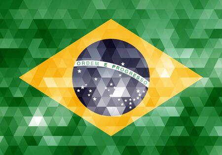 brazil flag on geometric texture background