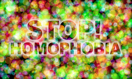 bisexuality: Stop! Homophobia word on colorful bokeh background Stock Photo