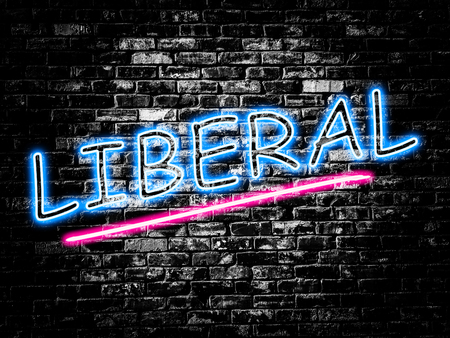 liberal: Liberal sign on old black vintage brick wall background Stock Photo