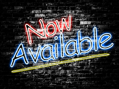 Now Available sign on old black vintage brick wall background Stock Photo