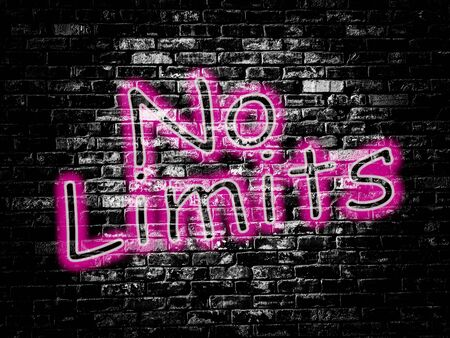 No limits sign on old black vintage brick wall background