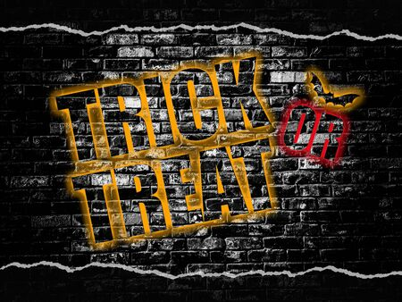 Trick or Treat word on old black vintage brick wall background