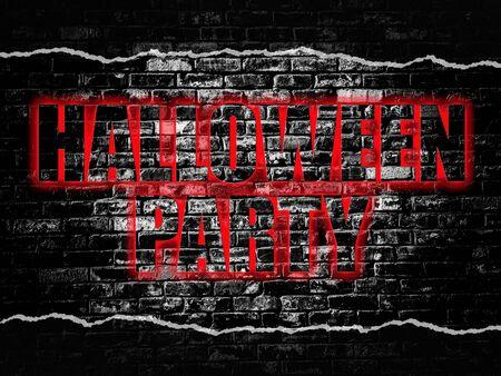 Partido de la palabra Halloween en el viejo fondo negro pared de ladrillo de la vendimia Foto de archivo - 60938744