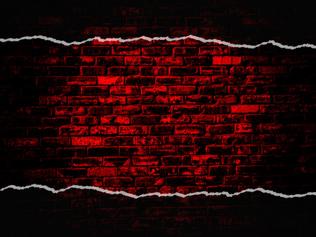 old black red vintage brick wall texture background with darker vignette Stock Photo