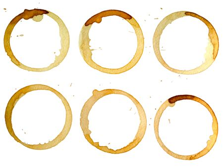 coffee stains: Set of coffee stains isolated on white paper background Stock Photo