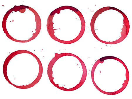 wine stains: Set of red wine stains isolated on white paper background