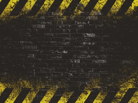 hazard tape: old black vintage brick wall texture background with hazard tape Stock Photo