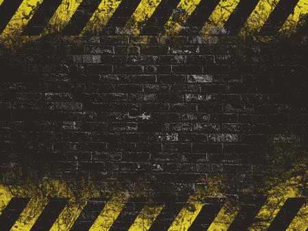hazard tape: old black vintage brick wall texture background with hazard tape Stock Photo