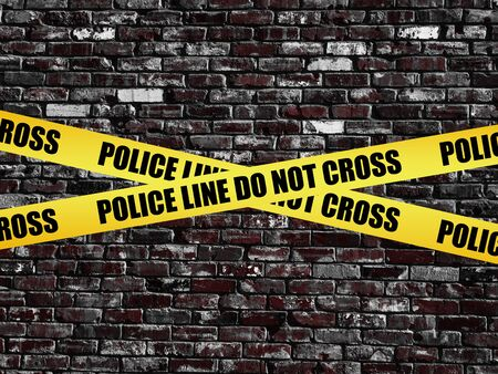 Police Line Do Not Cross on old vintage brick wall texture background Stock Photo