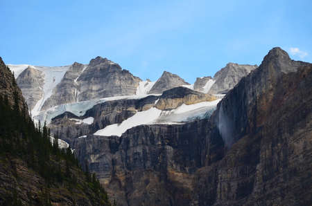 zoomed: Zoomed in snow on mountain, Banff National Park Canada Stock Photo