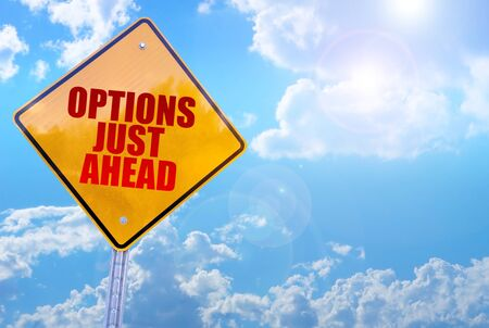 options just ahead word on yellow traffic sign blue sky background
