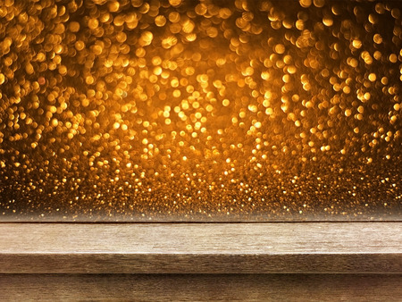 old wood table top on copper gold glitter bokeh background