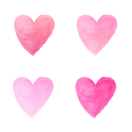 gradient pink heart watercolor paint isolated on white background background Stock fotó