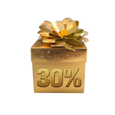 trade off: Christmas gold gift box isolated on white background with word 30%