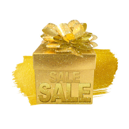 Christmas gold gift box isolated on white background with word sale