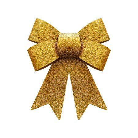Glitter golden bow isolated on white background Stock Photo