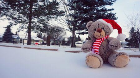 sitting on the ground: a cute Christmas teddy bear sitting on the ground with snow vintage style