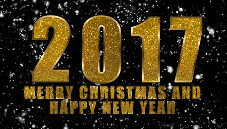 Gold glitter words 2017 Merry Christmas and Happy New Year on snowfall background