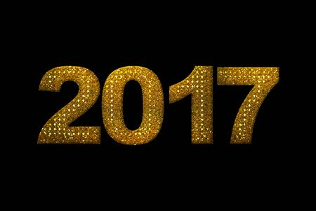 Gold glitter 2017 numbers for New Year holiday concept on black background Stock Photo