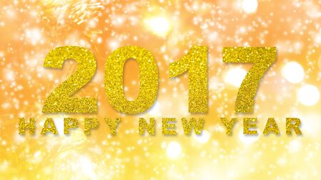 Abstract Christmas green lights fir tree bokeh background with gold glitter words 2017 Happy New Year Stock Photo