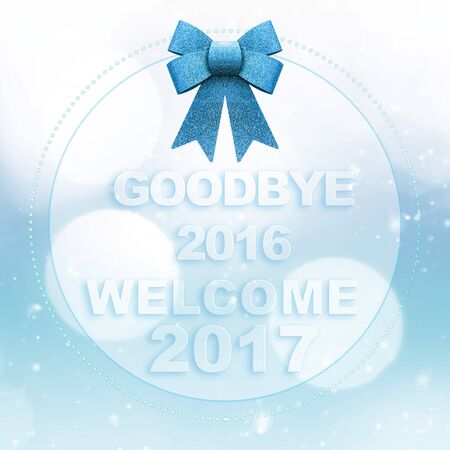Goodbye 2016 welcome 2017 words on white blue bokeh background with glitter bow Stock Photo